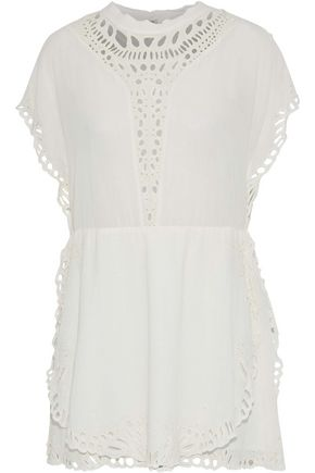 IRO Caidy broderie anglaise-trimmed voile mini dress