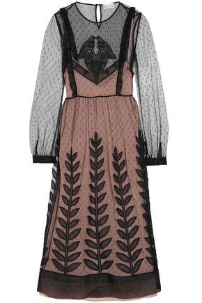 REDValentino Embroidered point d'esprit midi dress