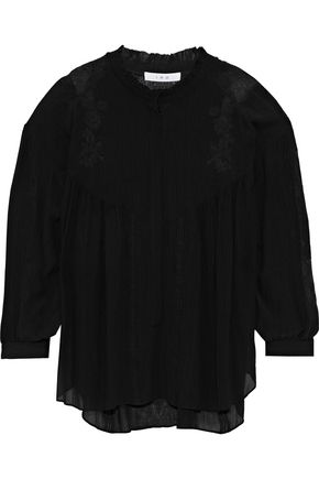 IRO Geryn lace-trimmed crinkled-voile blouse