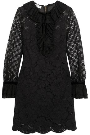 PHILOSOPHY di LORENZO SERAFINI Velvet-trimmed ruffled cotton-blend corded lace mini dress