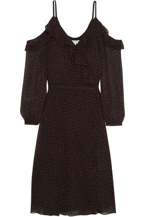 MICHAEL MICHAEL KORS Cold-shoulder printed chiffon dress