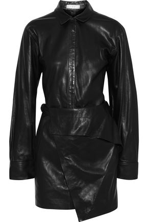 IRO Enmalo wrap-effect layered leather mini dress