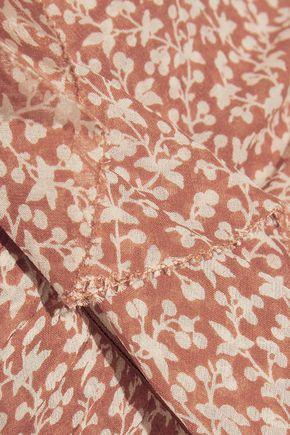 VERONICA BEARD Wallflower strapless ruched floral-print silk crepe de chine dress
