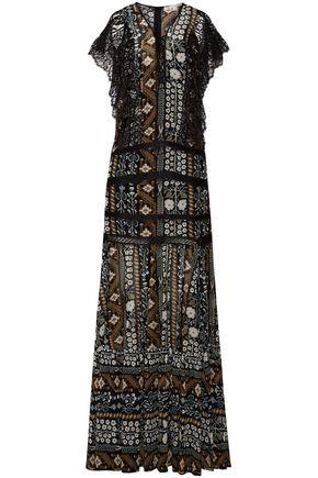 VERONICA BEARD Lace-trimmed printed chiffon maxi dress