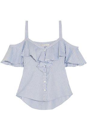 VERONICA BEARD Cold-shoulder ruffled striped cotton top