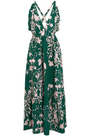 BORGO DE NOR Open-back ruffle-trimmed printed cotton-poplin maxi dress