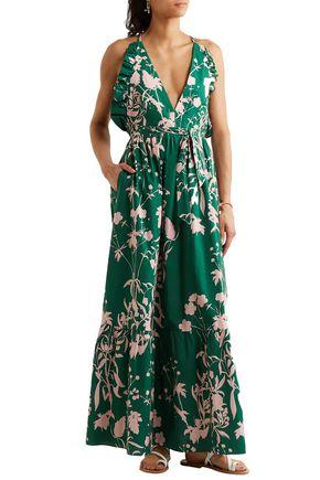 BORGO DE NOR Open-back ruffle-trimmed printed cotton-poplin maxi dress