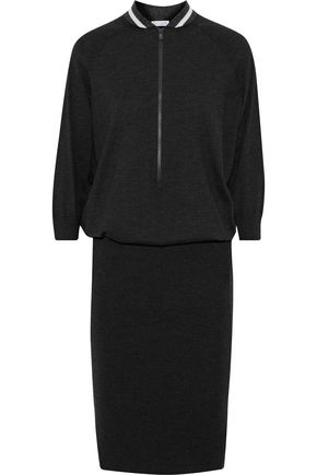 BRUNELLO CUCINELLI Gathered cashmere-blend dress
