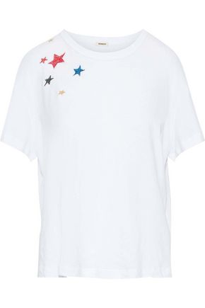 MONROW Embroidered Supima cotton and modal-blend jersey T-shirt