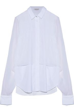 BRUNELLO CUCINELLI Layered silk-chiffon and cotton-blend poplin shirt