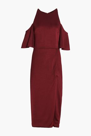 CUSHNIE Mona cold-shoulder stretch-knit midi dress