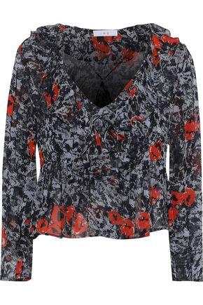 IRO Ruffled printed georgette blouse