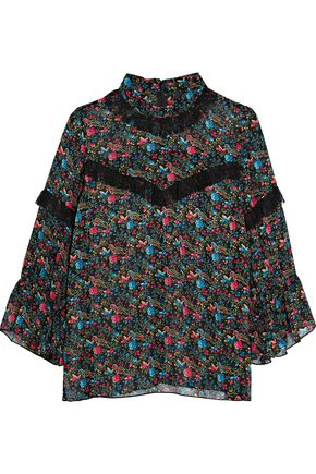 ANNA SUI Lace-trimmed printed silk blouse