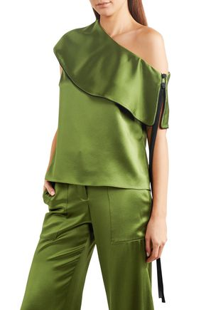 HELLESSY One-shoulder layered silk-satin top