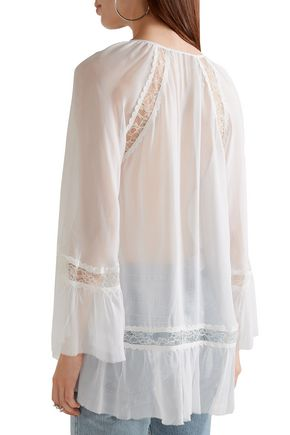 ALICE + OLIVIA Luma lace-paneled silk-georgette and chiffon blouse