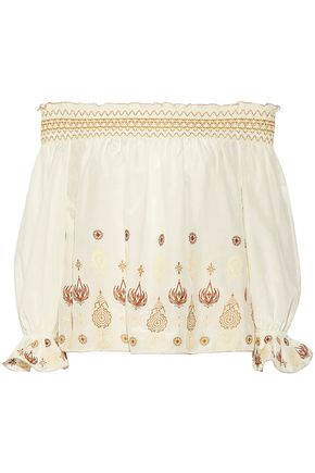 RACHEL ZOE Off-the-shoulder embroidered cotton and silk-blend top