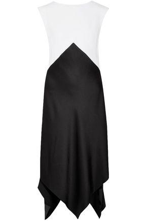 TOME Asymmetric two-tone crepe midi dress