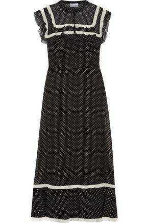 REDValentino Ruffle-trimmed polka-dot silk-chiffon midi dress