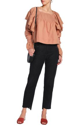 LOVE SAM Ruffled broderie anglaise cotton blouse