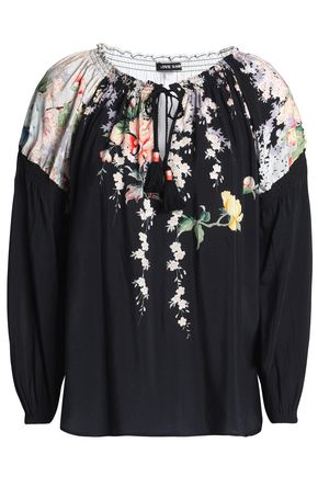 LOVE SAM Shirred floral-print voile blouse