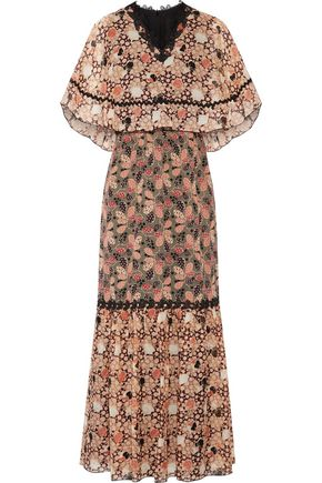 ANNA SUI Layered lace-trimmed silk-jacquard maxi dress
