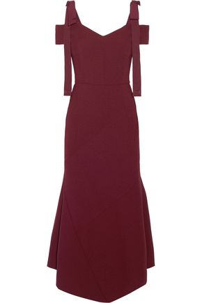Cold Shoulder Asymmetric Crepe Midi Dress by Rebecca Vallance