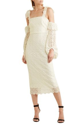 REBECCA VALLANCE Cold-shoulder bow-detailed guipure lace midi dress