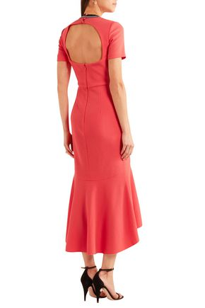 REBECCA VALLANCE Open-back fluted crepe midi dress