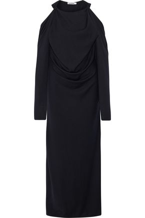 JIL SANDER Cold-shoulder draped wool and cashmere-blend gown