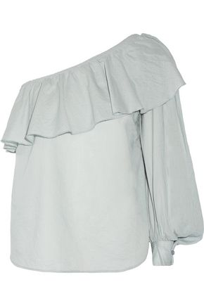 APIECE APART One-shoulder ruffled cotton top