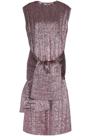 JIL SANDER Tie-front textured silk-blend lamé midi dress