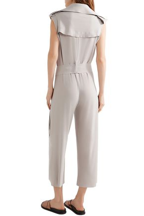NORMA KAMALI Wrap-effect cropped cady jumpsuit