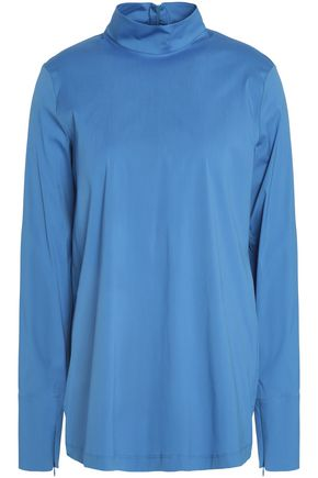 JIL SANDER Cotton-blend poplin turtleneck top