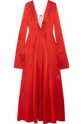 MICHAEL LO SORDO Tike-detailed silk-satin gown