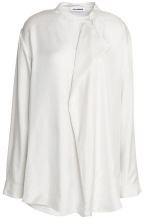 JIL SANDER Draped silk satin-twill blouse