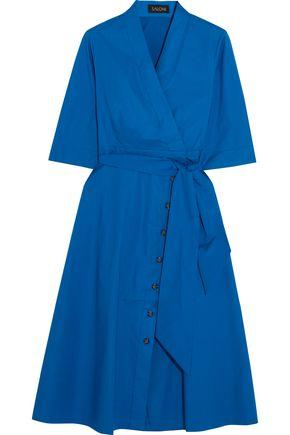 SALONI Belted stretch-cotton poplin dress