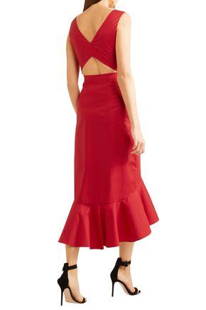 SALONI Cutout fluted stretch-cotton poplin midi dress