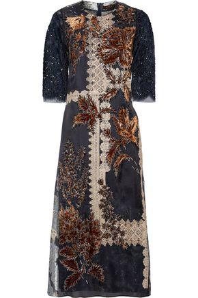 BIYAN Liesta lace-trimmed embroidered metallic fil coupé organza midi dress