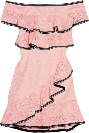 REBECCA VALLANCE Off-the-shoulder tiered guipure lace mini dress