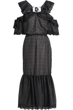 MARISSA WEBB Kendra cold-shoulder burnout organza midi dress
