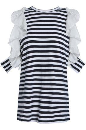 CLU Ruffled silk-trimmed striped cotton-jersey top