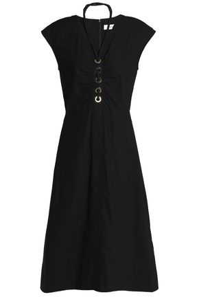DEREK LAM 10 CROSBY Ruched eyelet-embellished cotton-poplin midi dress