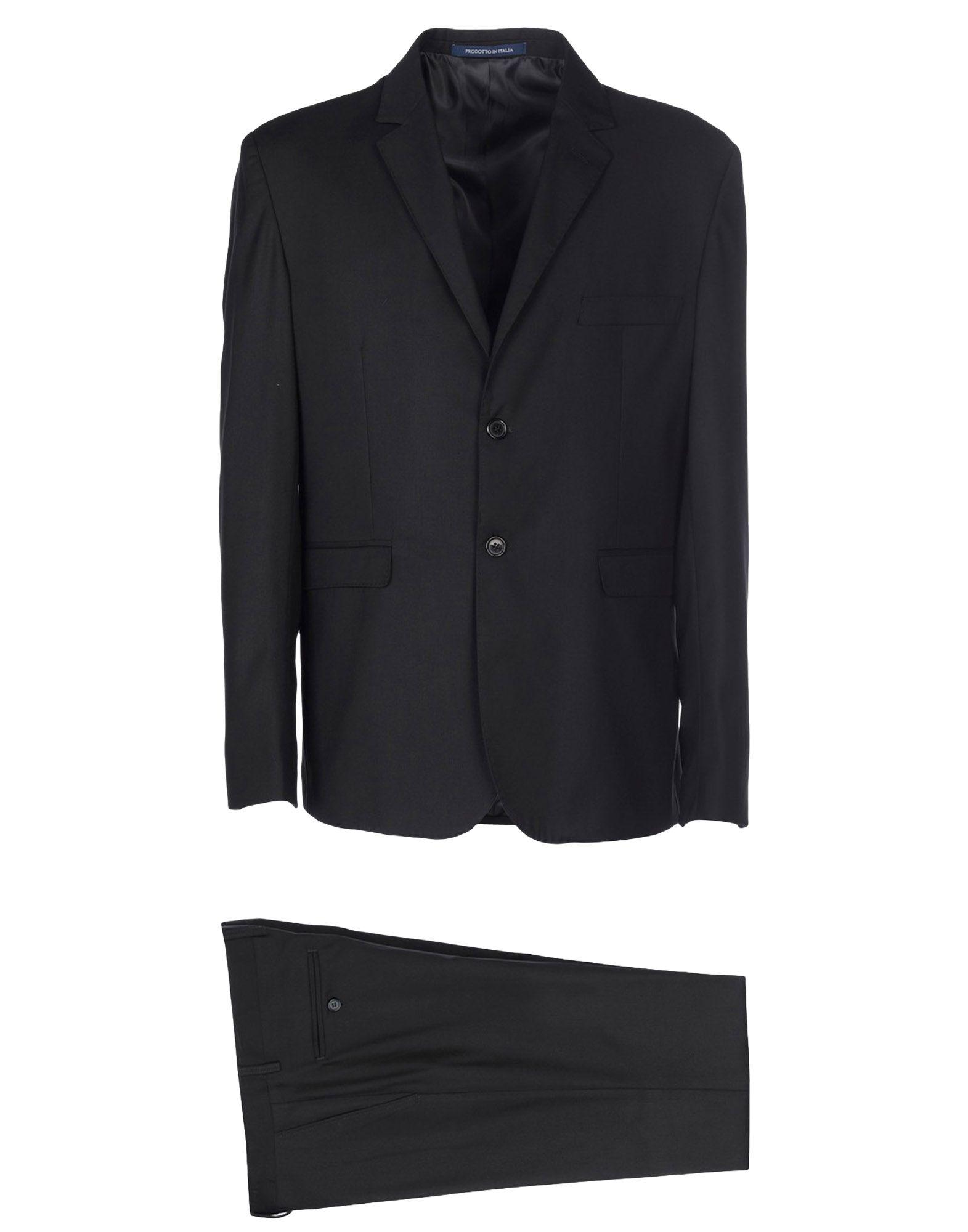 《送料無料》DE BOTTIS Sartoria Italiana メンズ スーツ ブラック 48 ウール 100%