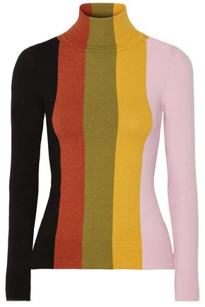 JOOSTRICOT Striped cotton-blend turtleneck top
