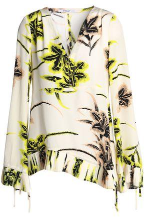 DEREK LAM 10 CROSBY Pleated printed silk crepe de chine top