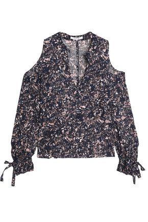 DEREK LAM 10 CROSBY Cold-shoulder fil coupé silk and cotton-blend blouse