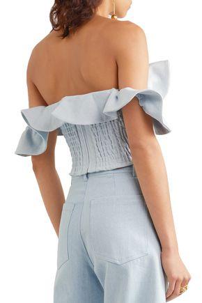 APIECE APART Off-the-shoulder ruffled denim bustier top