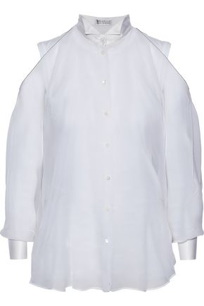 BRUNELLO CUCINELLI Bead-embellished satin-trimmed silk-organza shirt