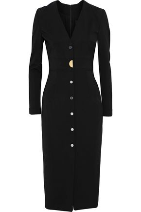 CUSHNIE ET OCHS Paola button-embellished stretch-crepe dress