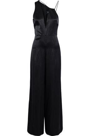 WOMAN VALETTA ASYMMETRIC SILK-SATIN JUMPSUIT BLACK